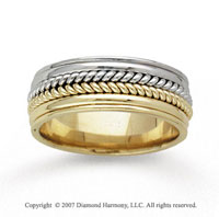 14k Two Tone Gold Stylish Bold Hand Carved Wedding Band
