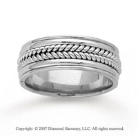 14k White Gold Stylish Bold Hand Carved Wedding Band
