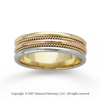 14k Tri Tone Gold Dbl Milgrain Hand Carved Wedding Band