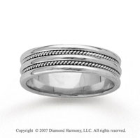 14k White Gold Double Milgrain Hand Carved Wedding Band