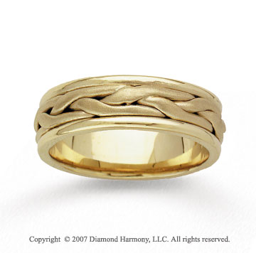14k Yellow Gold Stylish Weave Hand Carved Wedding Band