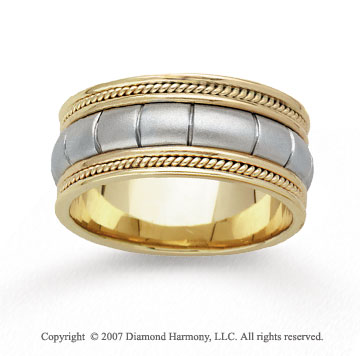 14k Two Tone Gold Milgrain Patterned Hand Carved Wedding Band
