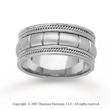 14k White Gold Milgrain Pattern Hand Carved Wedding Band