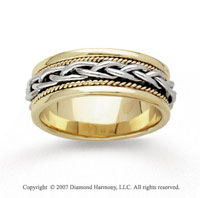 14k Two Tone Gold Fine Weave Hand Carved Wedding Band