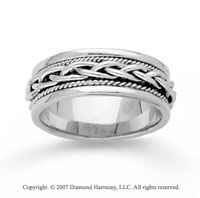 14k White Gold Fine Weave Hand Carved Wedding Band