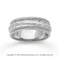 14k White Gold Milgrain Elegance Hand Carved Wedding Bnd