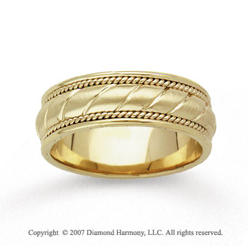 14k Yellow Gold Milgrain Elegance Hand Carved Wedding Bnd