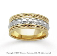 14k Two Tone Gold Milgrain Bold Hand Carved Wedding Band