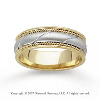 14k Two Tone Gold Sleek Fine Hand Carved Wedding Band