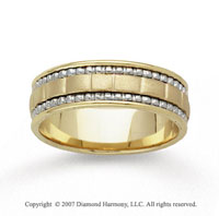 14k Two Tone Gold Elegant Hand Carved Wedding Band