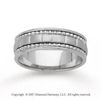 14k White Gold Elegant Hand Carved Wedding Band
