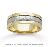 14k Two Tone Gold Fine Heart Hand Carved Wedding Band