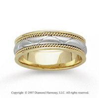 14k Two Tone Gold Milgrain Eternity Hand Carved Wedding Band