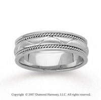 14k White Gold Milgrain Eternity Hand Carved Wedding Band