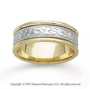 14k Two Tone Gold Classic Hand Carved Wedding Band