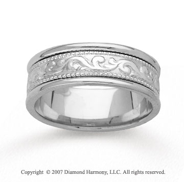 14k White Gold Classic Style Hand Carved Wedding Band