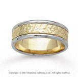 14k Two Tone Gold Floral Style Hand Carved Wedding Band
