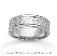 14k White Gold Floral Style Hand Carved Wedding Band