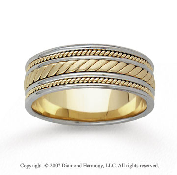 14k Two Tone Gold Elegance Hand Carved Wedding Band