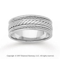 14k White Gold Fine Elegance Hand Carved Wedding Band
