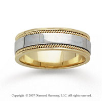 14k Two Tone Gold Sleek Milgrain Hand Carved Wedding Band