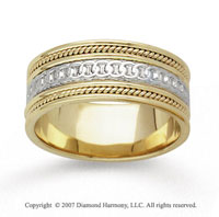 14k Two Tone Gold Eternity Circle Hand Carved Wedding Band