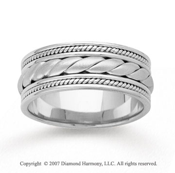 14k White Gold Rope Milgrain Hand Carved Wedding Band
