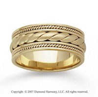 14k Yellow Gold Rope Hand Carved Wedding Band