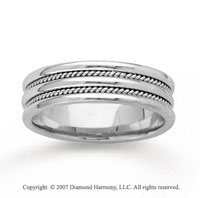 14k White Gold Milgrain Strips Hand Carved Wedding Band