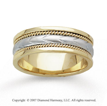 14k Yellow Gold Fine Milgrain Hand Carved Wedding Band