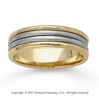 14k Two Tone Gold Sleek Elegance Hand Carved Wedding Band
