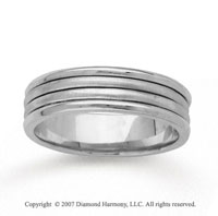 14k White Gold Sleek Elegance Hand Carved Wedding Band