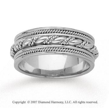 14k White Gold Grand Milgrain Hand Carved Wedding Band