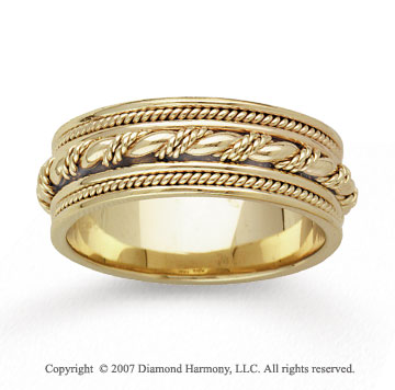 14k Yellow Gold Grand Milgrain Hand Carved Wedding Band