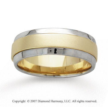 14k Two Tone Gold Serenity Hand Carved Wedding Band