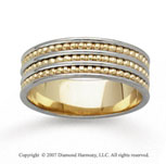 14k Two Tone Gold Modern Classic Hand Carved Wedding Band