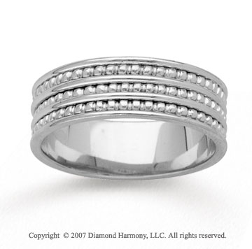14k White Gold Modern Classic Hand Carved Wedding Band