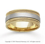 14k Two Tone Gold Fine Milgrain Hand Carved Wedding Band