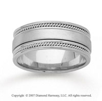 14k White Gold Fine Milgrain Hand Carved Wedding Band