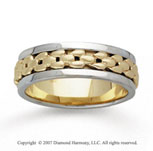 14k Two Tone Gold Modern Deco Hand Carved Wedding Band