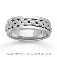 14k White Gold Modern Deco Hand Carved Wedding Band