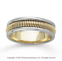 14k Two Tone Gold Fine Ridges Hand Carved Wedding Band