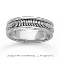 14k White Gold Fine Ridges Hand Carved Wedding Band