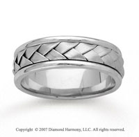 14k White Gold Stylish Weave Hand Carved Wedding Band