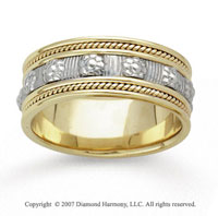 14k Two Tone Gold Floral Milgrain Hand Carved Wedding Band