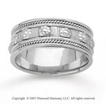 14k White Gold Floral Milgrain Hand Carved Wedding Band
