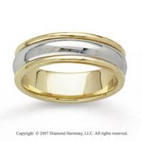 14k Two Tone Gold Extra Slick Hand Carved Wedding Band