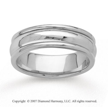 14k White Gold Extra Slick Hand Carved Wedding Band