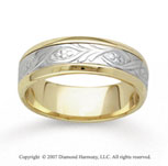 14k Two Tone Gold Classy Elegance Hand Carved Wedding Band