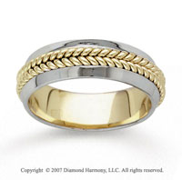 14k Two Tone Gold Braided Hand Carved Wedding Band